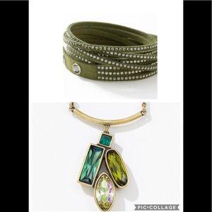Swarovski set olive wrap bracelet & necklace BNIB